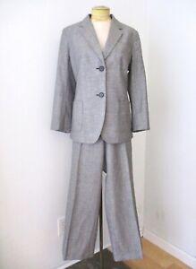 NWT $318 Talbots Gray Wool Linen 2-Pc Wide Leg Pant Jacket Career Suit Grace 16P