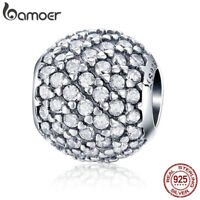 Bamoer European S925 Sterling Silver charm Light Clear CZ For Women Fit Bracelet