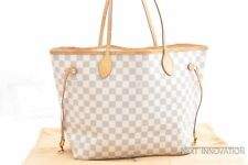 Authentic Louis Vuitton Damier Azur Neverfull MM Tote Bag N51106 LV 54089