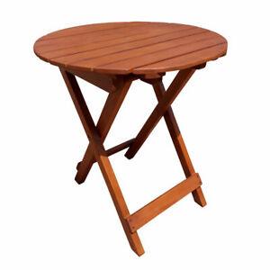 Eukalyptus Gartentisch rund - 50x45cm - Holz Balkon Tisch Klapptisch Bistrotisch