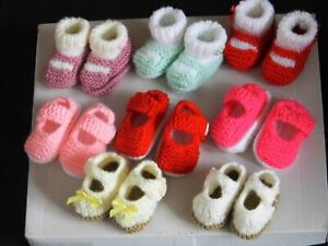 BABY  GIRL HAND KNITTED SOFT BOOTEES AND SHOES