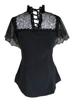 Black Gothic Lace Victorian Lace-Up Flutter Steampunk Top Blouse
