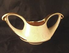 PEARL CHINA Pearlized Lusterware OPEN SUGAR BOWL Gold Trim Embossed Swirl