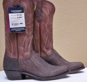 """Lucchese """"Carl"""", Chocolate Sanded Shark Skin Boots, Style # M3105, Size (9.5 D)"""