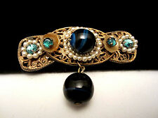 """Rare Vtg 2-1/4"""" Signed Miriam Haskell Hand Wired Seed Bead Glass Brooch Pin A68"""