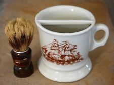 Vintage Mustache Cup with Ship on Front and Shaving Brush West Germany