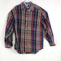 Tommy Hilfiger Mens sz L Red Blue Green Plaid Button Down Casual Dress Shirt