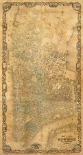 THE MAP OF NEW YORK CITY, 1852 Vintage Map Giclee Canvas Print 22x41