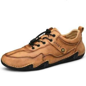 Men Sport Casual Flats Lace Up Walking Lesuire Outdoor Driving Leaher Shoes Sz F