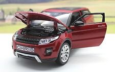 PERSONALISED PLATE Burgundy RANGE ROVER EVOQUE 1/24 Boys Toy MODEL Boxed Present