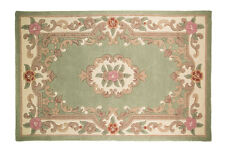 Quality Wool Oriental Traditional Flower Design Green Rug in 75 x 150 cm Carpet