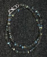 """Blue Labradorite 5-6 mm Round Beads 925 Sterling Silver 19"""" Strand Necklace OI01"""