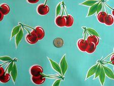 AQUA CHERRY STELLA RETRO KITCHEN PICNIC PATIO OILCLOTH VINYL TABLECLOTH 48x84