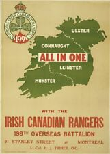 IRISH CANADIAN RANGERS OVERSEAS BATTALION Vintage Irish WW1 Propaganda Poster
