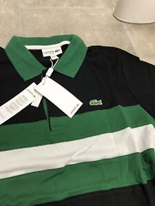 Lacoste Sport Poloshirt Colourblock Herren SLIM Fit Schwarz Grün Größe XXL
