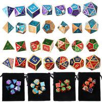 7Pcs Metal Dice Set For Dragons DND RPG MTG Board Game Colors +