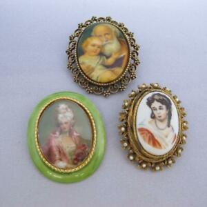 3 Pc Group Vintage Hand Painted Portrait Miniature Pins Brooches Assorted #J702