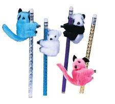 "NEW 4 pc ""Panda Bear Raccoon"" Pencil Huggers Furry Animal Birthday Party Favors"