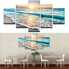 5Pcs Beach Sea Wave Sunset Painting Unframed Poster Picture Wall Art Home Decor