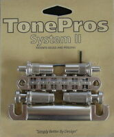 LPNM02-SN TonePros Metric Bridge/Tailpiece Set, pre-notched saddles,Satin Nickel