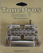 LPM02-SN TonePros Metric Bridge/Tailpiece Set, pre-notched saddles,Satin Nickel