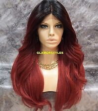 Long Wavy Layered Black Burgundy Mix Full Lace Front Wig Heat Ok Hair Piece NWT