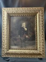 "Antique Very Ornate Leaves Wood Gesso Heavy Gold Frame Haunting Child 26"" x 30"""