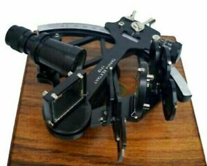 Nautical Brass Black Tamaya Sextant With Wooden Box Fully Working Navigation