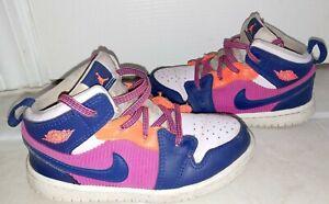 Little Girls Nike Air Jordan 1 Mid GS Fire Shoes Size: 9C