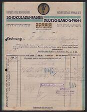 ZÖRBIG, Rechnung 1926, Schokoladen-Fabrik Deutschland GmbH