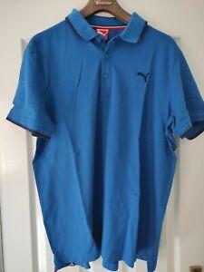 Men's Puma Blue Short Sleeve Polo Shirt Size XL