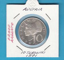 AUSTRIA 10 SCHILLING DEL 1971 ARGENTO  7,5 GRAMMI SILVER FONDO SPECCHIO PROOF