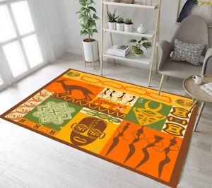 African Mask Animals Design Ornament Area Rugs Bedroom Living Room Floor Mat Rug