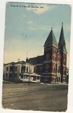 Vintage Postcard (1913) - First M E Church, Marion, Ind - Posted 1791