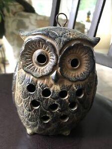 """Vintage Ceramic Owl Candle Holder Hanging Lantern Tea Light or Votive 6-1/2"""""""
