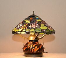 """16"""" Handcrafted Stained Glass Dragonfly Lotus Water Lily Table Lamp 2 Lights"""