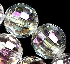 10mm Faceted White Crystal Quartz Round Loose Beads 14""