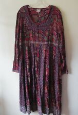 EAST ARTISAN with ANOKHI Smock DRESS Purple Red MIDI Cotton Hand Block Sz 16