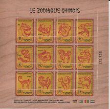 VARIETE PERFO Guinée 2018 bloc-feuillet en BOIS Zodiaque Chinois Année du Cochon