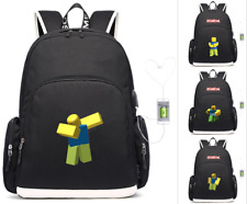 Game Roblox Noob laptop backpack USB charging travel Bag teenagers School Bag