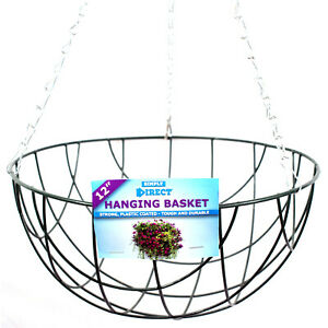 """Strong Wire 12"""" Hanging Basket complete with Chains - Multi Buy Discounted Deals"""