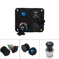 Marine Boat Car RV Voltmeter Dual USB Port 12V Power Socket 4 Hole Panel Switch