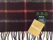 Barbour Tattersall Check Scarf Cashmere / Lambswool Maroon Red