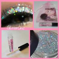 Glitter Eye Shadow Chunky Holographic Silver LARGE 10g+ Fix Gel  Glitter Eyes