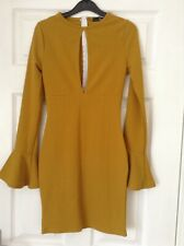 BNWT Missguided Mustard Dress Size 6 Brand New!! Bell Sleeve. Bodycon. Peephole.