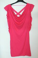 PINK CERISE LADIES MINI DRESS TOP PARTY CLUBWEAR SIZE 8/34 SEQUIN DECORATION