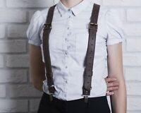 "New Fashion Men women Elastic No Slip /""Pin Clip/"" Y Back Suspenders Leather Trim"