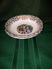 "Two Romantic Colonial Couple Gold Filigree Dessert Bowls 6"" 22 Karat Gold"