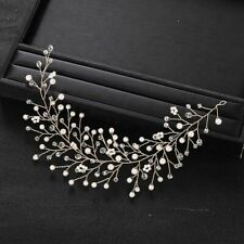 Rhinestones Crystal Pearls Headband Bridal Headdress Vine Style Soft Copper Made