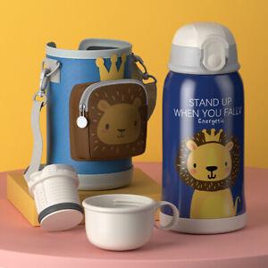 Kids Stainless Steel Water Bottle Flask Straw Insulated Leak Proof BPA Free550ML